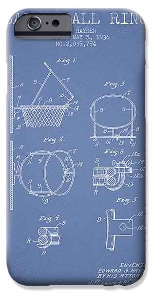 Nba iPhone Cases - 1936 Basketball Ring Patent - light blue iPhone Case by Aged Pixel
