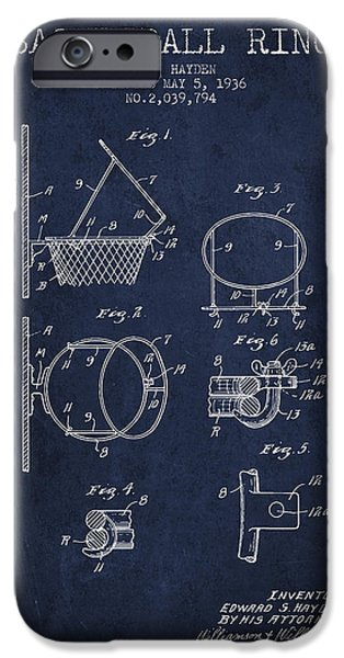 Nba iPhone Cases - 1936 Basketball Ring Patent - navy blue iPhone Case by Aged Pixel