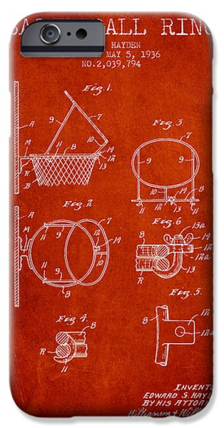 Nba iPhone Cases - 1936 Basketball Ring Patent - red iPhone Case by Aged Pixel