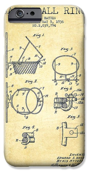 Dunk iPhone Cases - 1936 Basketball Ring Patent - vintage iPhone Case by Aged Pixel