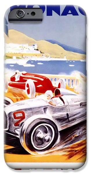 Bugatti Vintage Car iPhone Cases - 1936 F1 Monaco Grand Prix  iPhone Case by Nomad Art And  Design