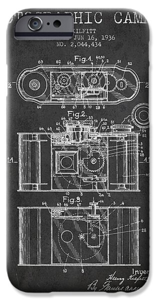 Detectives iPhone Cases - 1936 Photographic camera Patent - charcoal iPhone Case by Aged Pixel
