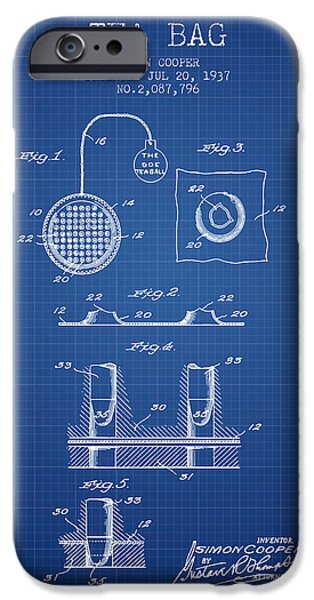 Cup Of Tea iPhone Cases - 1937 Tea Bag patent - blueprint iPhone Case by Aged Pixel