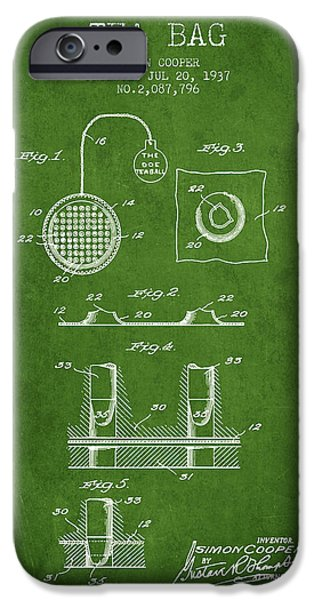 Cup Of Tea iPhone Cases - 1937 Tea Bag patent - green iPhone Case by Aged Pixel