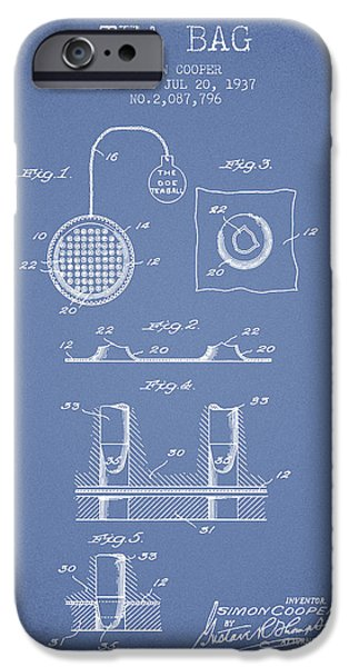 Cup Of Tea iPhone Cases - 1937 Tea Bag patent - light blue iPhone Case by Aged Pixel