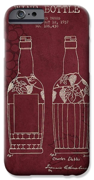 Wine Bottle iPhone Cases - 1937 Wine Bottle patent - Red Wine iPhone Case by Aged Pixel