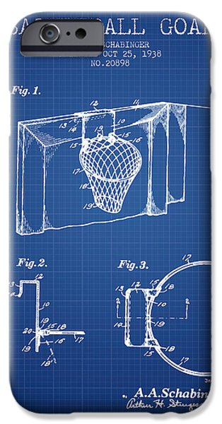 Slam iPhone Cases - 1938 Basketball Goal Patent - Blueprint iPhone Case by Aged Pixel