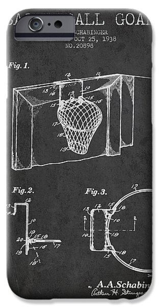 Nba iPhone Cases - 1938 Basketball Goal Patent - Charcoal iPhone Case by Aged Pixel