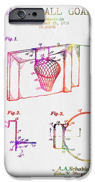 Dunk iPhone Cases - 1938 Basketball Goal Patent - Color iPhone Case by Aged Pixel