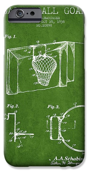 Dunk iPhone Cases - 1938 Basketball Goal Patent - Green iPhone Case by Aged Pixel