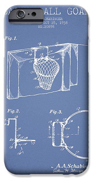 Nba iPhone Cases - 1938 Basketball Goal Patent - Light Blue iPhone Case by Aged Pixel