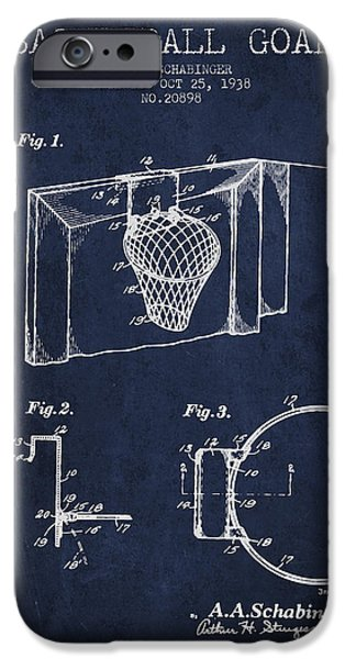 Basketball Players iPhone Cases - 1938 Basketball Goal Patent - Navy Blue iPhone Case by Aged Pixel