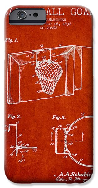Dunk iPhone Cases - 1938 Basketball Goal Patent - Red iPhone Case by Aged Pixel