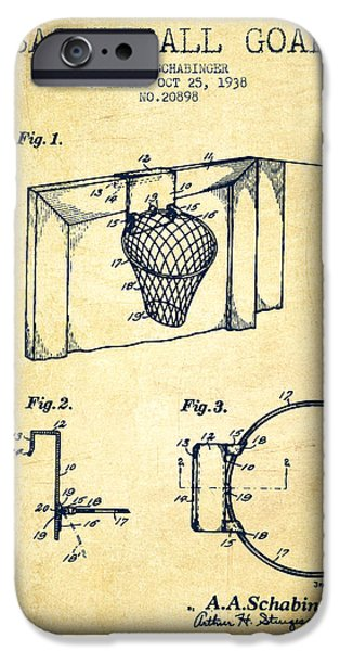 Basket Drawings iPhone Cases - 1938 Basketball Goal Patent - Vintage iPhone Case by Aged Pixel