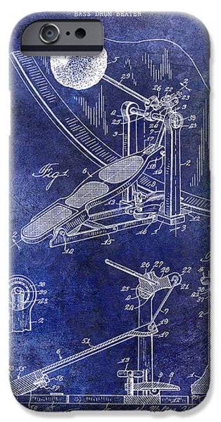 Beaters iPhone Cases - 1938 Bass Drum Pedal Patent Blue iPhone Case by Jon Neidert