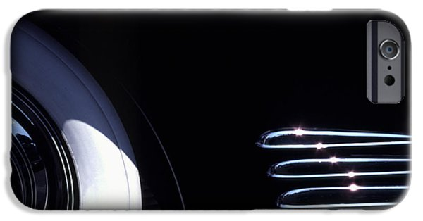 Cars iPhone Cases - 1938 Cadillac Limo with Chrome Strips iPhone Case by Anna Lisa Yoder
