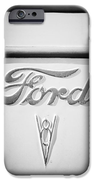 Ford Truck iPhone Cases - 1938 Ford Rat Rod Panel Truck V8 Emblem -ck0119bw iPhone Case by Jill Reger