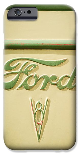 Ford Truck iPhone Cases - 1938 Ford Rat Rod Panel Truck V8 Emblem -ck0119c iPhone Case by Jill Reger