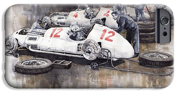 Automotive iPhone Cases - 1938 Italian GP Mercedes Benz Team preparation in the paddock iPhone Case by Yuriy  Shevchuk