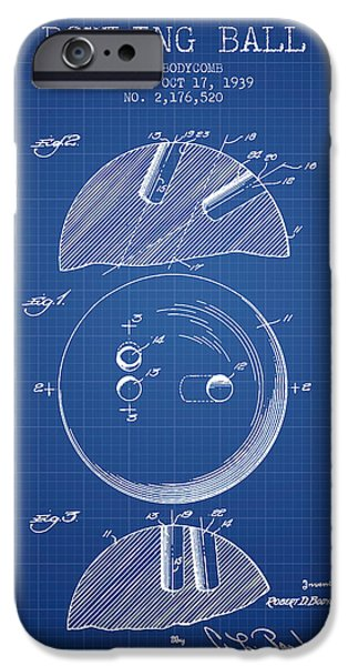 Carpet Drawings iPhone Cases - 1939 Bowling Ball Patent - Blueprint iPhone Case by Aged Pixel