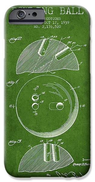 Carpet Drawings iPhone Cases - 1939 Bowling Ball Patent - Green iPhone Case by Aged Pixel