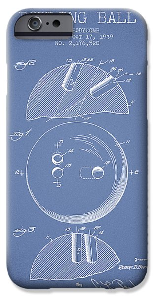Alley Drawings iPhone Cases - 1939 Bowling Ball Patent - Light Blue iPhone Case by Aged Pixel
