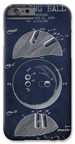 Alley Drawings iPhone Cases - 1939 Bowling Ball Patent - Navy Blue iPhone Case by Aged Pixel