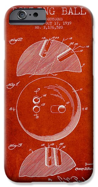 Alley Drawings iPhone Cases - 1939 Bowling Ball Patent - Red iPhone Case by Aged Pixel