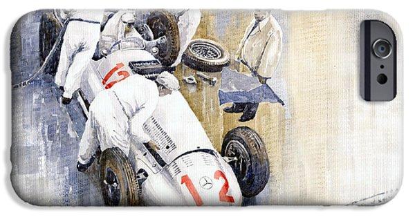 Racing iPhone Cases - 1939 German GP MB W154 Rudolf Caracciola winner iPhone Case by Yuriy  Shevchuk