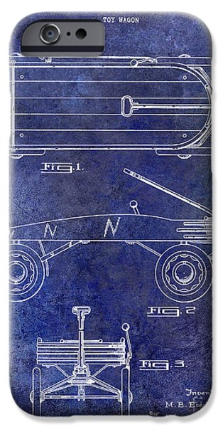 Wagon Photographs iPhone Cases - 1939 Toy Wagon Patent Blue iPhone Case by Jon Neidert
