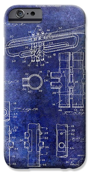 Marching Band Photographs iPhone Cases - 1939 Trumpet Patent Blue iPhone Case by Jon Neidert