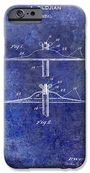 Beaters iPhone Cases - 1940 Cymbal Patent Blue iPhone Case by Jon Neidert