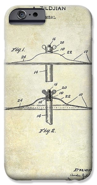 Beaters iPhone Cases - 1940 Cymbal Patent  iPhone Case by Jon Neidert