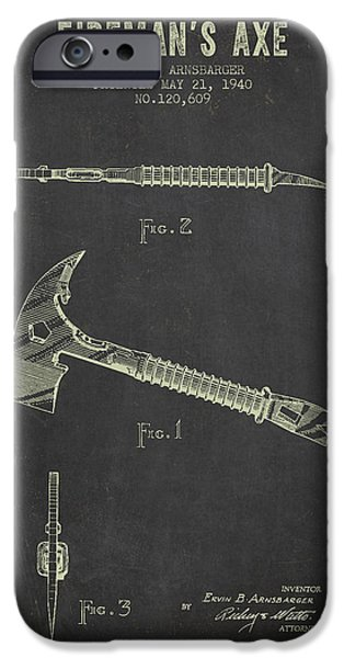 Gear iPhone Cases - 1940 Firemans Axe Patent - Dark Grunge iPhone Case by Aged Pixel