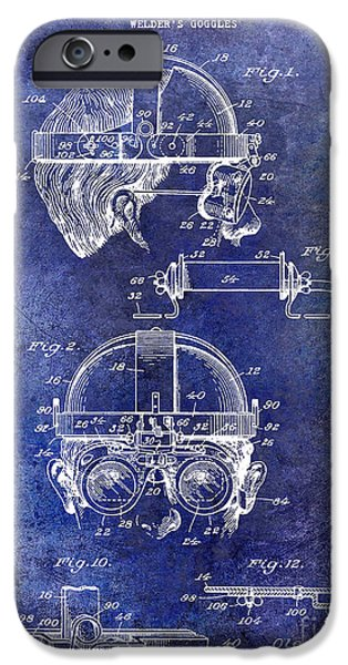 Hobart iPhone Cases - 1940 Welders Goggles Patent Blue iPhone Case by Jon Neidert