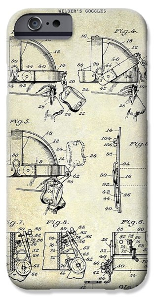 Hobart iPhone Cases - 1940 Welders Goggles Patent iPhone Case by Jon Neidert