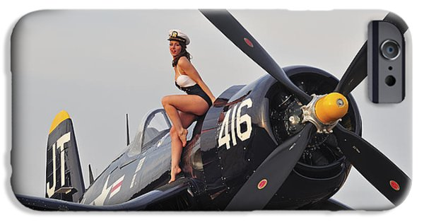 Bathing iPhone Cases - 1940s Style Navy Pin-up Girl Sitting iPhone Case by Christian Kieffer