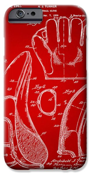 Baseball Digital iPhone Cases - 1941 Baseball Glove Patent - Red iPhone Case by Nikki Marie Smith
