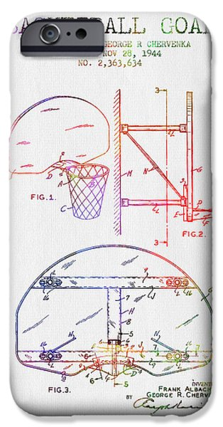 Dunk iPhone Cases - 1944 Basketball Goal Patent - Color iPhone Case by Aged Pixel