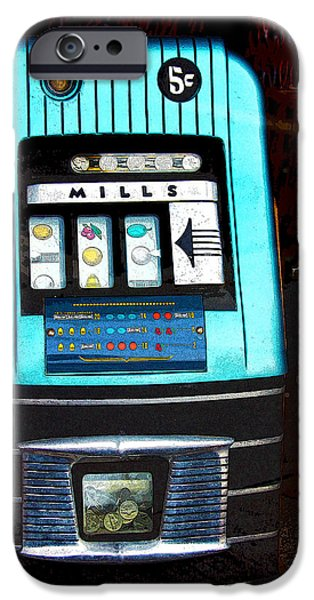 1945 Mills High Top 5 Cent Nickel Slot Machine iPhone Case by Karon Melillo DeVega