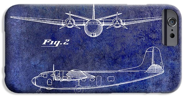 Vintage Plane iPhone Cases - 1946 Airplane Patent Blue iPhone Case by Jon Neidert