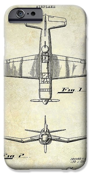 Vintage Plane iPhone Cases - 1946 Airplane Patent iPhone Case by Jon Neidert