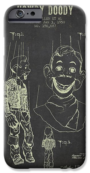 Puppets iPhone Cases - 1950 Howdy Doody - Dark Grunge iPhone Case by Aged Pixel