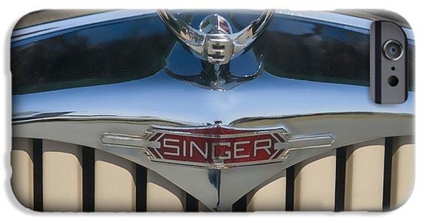 Car Mascot Digital iPhone Cases - 1950 Singer 9 Roadster Hood ornament iPhone Case by Chris Flees