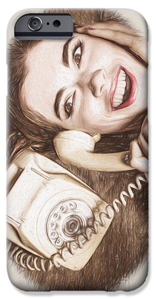 1950s Portraits iPhone Cases - 1950s Pinup Girl Talking On Retro Phone iPhone Case by Ryan Jorgensen