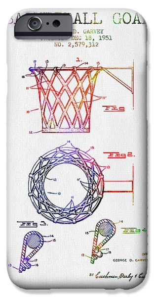Nba iPhone Cases - 1951 Basketball Goal Patent - Color iPhone Case by Aged Pixel