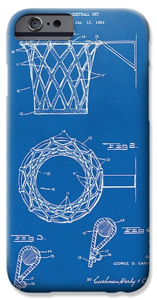 Best Sellers -  - Basket iPhone Cases - 1951 Basketball Net Patent Artwork - Blueprint iPhone Case by Nikki Marie Smith
