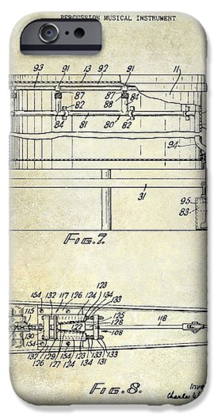 Beaters iPhone Cases - 1951 Drum Patent  iPhone Case by Jon Neidert