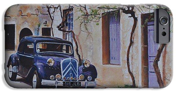 Vintage Car Pastels iPhone Cases - 1951s Citroen iPhone Case by Iliyan Bozhanov