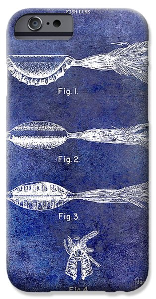Cape Cod iPhone Cases - 1952 Fishing Lure Patent Blue iPhone Case by Jon Neidert